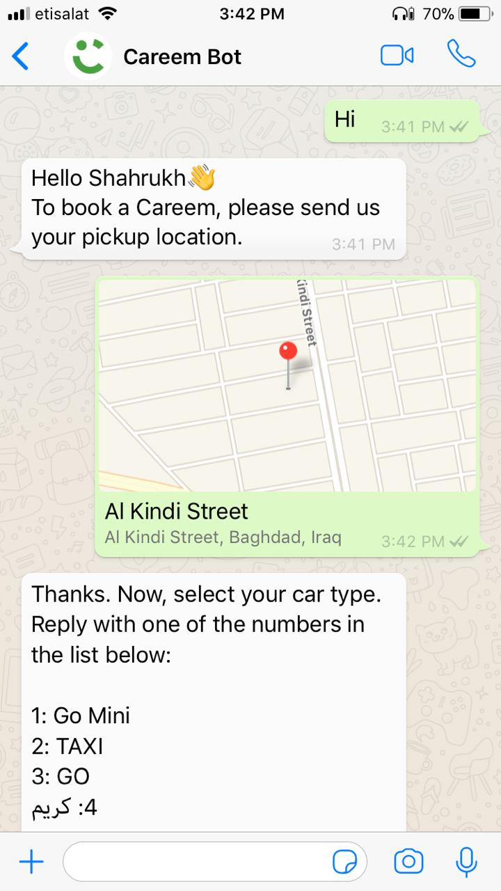 You can now use Careem bot to book via WhatsApp in Iraq